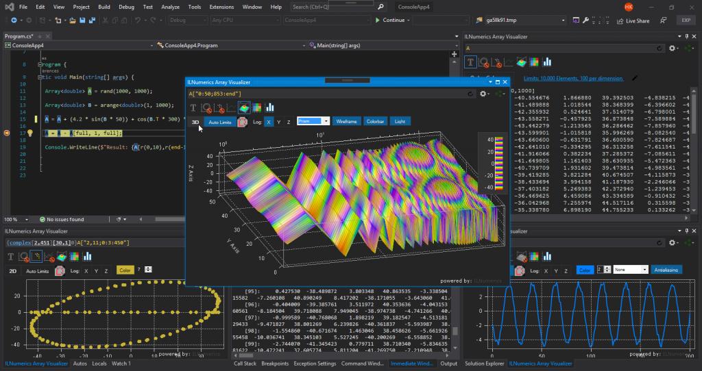 ILNumerics Array Visualizer: Debugging in VisualStudio